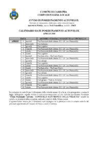 Il calendario delle postazioni autovelox previste nel mese di aprile 2018 nel comune di Carbonia.