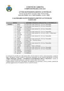 Il calendario delle postazioni autovelox del comune di Carbonia per il mese di marzo 2018.