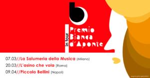 """Sta per partire il """"Premio Bianca d'Aponte in tour"""", l'unico contest in Italia riservato a cantautrici."""