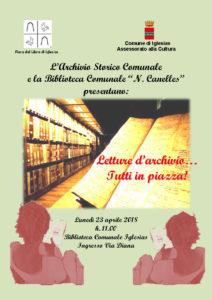 """Lunedì mattina,presso la Biblioteca Comunale """"N. Canelles"""" di Iglesias, si svolgerà l'iniziativa """"Letture d'archivio…Tutti in piazza!""""."""