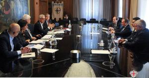 Il presidente Francesco Pigliaru e gli assessori Maria Grazia Piras, Edoardo Balzarini e Raffaele Paci hanno incontrato, questa mattina a Villa Devoto, i vertici di Italgas.