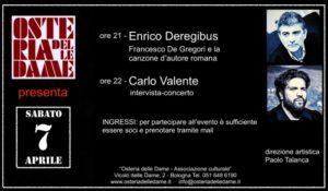 Sabato, all'Osteria delle Dame di Bologna, Enrico Deregibus racconta Francesco De Gregori.