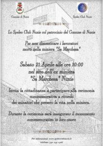 """Sabato mattina, a Nuxis, verrà inaugurato il monumento commemorativo in onore dei lavoratori morti nella miniera di """"Sa Marchesa""""."""