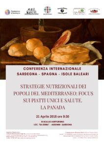 """Sabato 21 aprile si svolgerà ad Assemini il convegno internazionale """"Strategie Nutrizionali dei Popoli del Mediterraneo – Focus sui Piatti unici e salute – La Panada""""."""