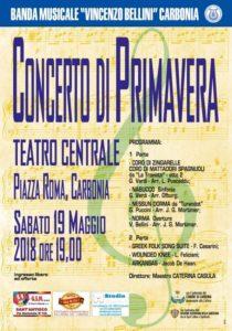 """Sabato sera, al Teatro Centrale di Carbonia, nell'ambito della """"Festa del Patrimonio"""", il """"Concerto di Primavera"""" della banda musicale Vincenzo Bellini."""