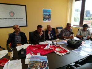 Claudio Chiappucci tiene a battesimo la 19ª edizione del Giro delle Miniere, presentata stamane nella sede dell'assessorato regionale dello Sport.