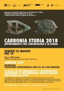 """Venerdì 25 maggio, nella Biblioteca comunale di Carbonia, andrà in scena un nuovo appuntamento con l'archeologia e la storia nell'ambito di""""Carbonia Studia""""."""