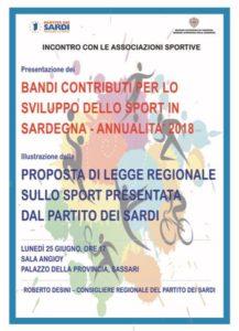 L'on. Roberto Desini (PdS), a Sassari, lunedì 25 giugno incontra le associazioni sportive del nord Sardegna sui bandi per i contributi regionali.
