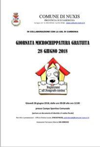 Il comune di Nuxis ha organizzato, in collaborazione con la ASSL di Carbonia, una giornata di microchippatura gratuita per i cani, per la giornata di giovedì 28 giugno.