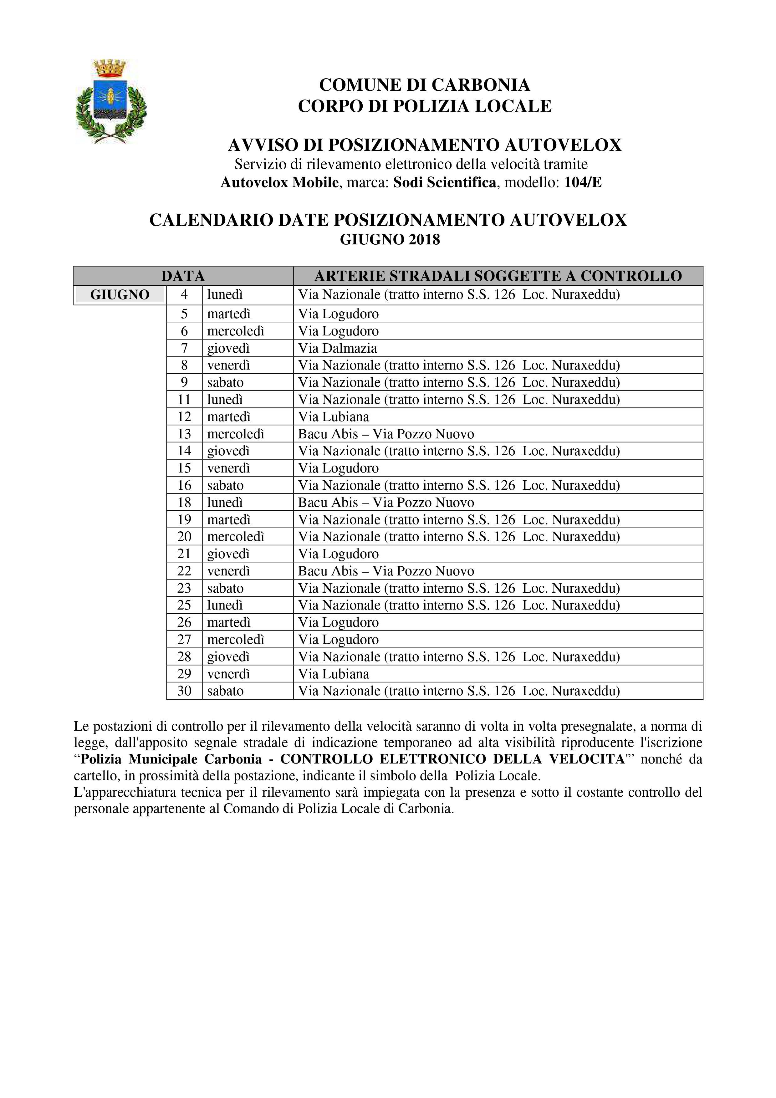 Calendario Di Giugno.Il Calendario Delle Postazioni Autovelox Del Comune Di