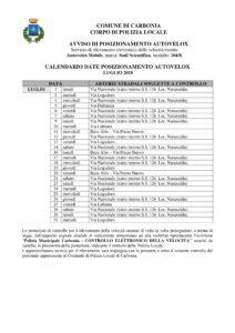 La Polizia locale del comune di Carbonia effettuerà nel corso del mese di luglio controlli sistematici della velocità su tutto il territorio comunale con l'impiego dell'autovelox.