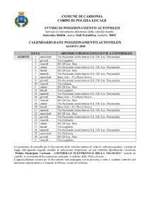 Il calendario delle postazioni autovelox del comune di Carbonia nel mese di agosto 2018.