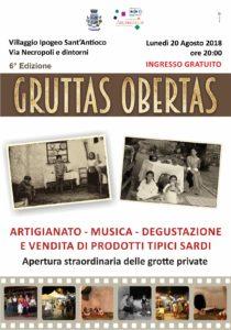 """Lunedì 20 agosto ritorna l'attesa manifestazione """"Gruttas Obertas"""", spaccato di vita di una Sant'Antioco che fu."""