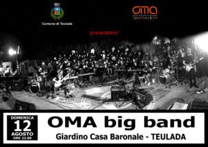 """Domenica 12 agosto, alle ore 22.00, il giardino della Casa Baronale di Teulada ospiterà la grande orchestra moderna """"OMA big band""""."""
