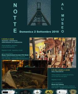 """Il Museo del Carbone e il Museo Paleoambienti Sulcitani PAS Martel organizzano """"Notte al Museo"""", per domenica 2 settembre."""