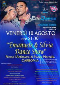 """Domani sera, venerdì 10 agosto, alle ore 21.30, l'""""Emanuele & Silvia Dance show"""" fa tappa a Carbonia nella location dell'Anfiteatro di piazza Marmilla."""