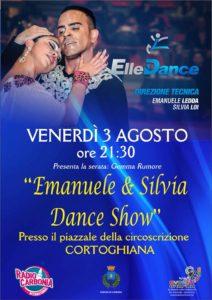 """Stasera, alle ore 21.30, il piazzale della Circoscrizione di Cortoghiana ospiterà l'""""Emanuele & Silvia Dance show""""."""