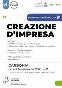 """Lunedì 24 settembre, pressoil Centro di formazione regionale (CPLF) di via Costituente 43, a Carbonia, sisvolgerà un seminario informativo sulla """"Creazione d'impresa""""."""