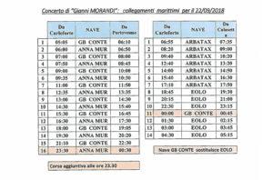 Tariffe super scontate sui traghetti della Delcomar, sabato 22 settembre, in occasione del concerto di Gianni Morandi.