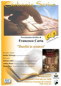 """Giovedì sera, per la rassegna """"Carbonia scrive"""", verrà presentato il libro """"Banditi in miniera"""", di Francesco Carta."""