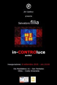 """Verrà inaugurata sabato 8 settembre, presso l'Art Gallery di Nicola Filia, a San Pantaleo, Olbia Costa Smeralda, la nuova personale di pittura """"in-CONTROluce"""", dell'artista Salvatore Filia."""