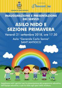 """Venerdì 21 settembre, a Sant'Antioco, si terrà l'inaugurazione e la presentazione dei servizi di recente istituzione dell'Asilo Nido e Sezione Primavera del """"Generale Carlo Sanna""""."""