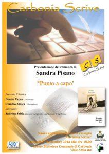 """Giovedì 27 settembre, nella Biblioteca Comunale di viale Arsia, per """"Carbonia Scrive"""", verrà presentato il libro """"Punto a capo"""", di Sandra Pisano."""