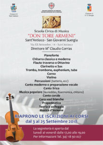 """Riparte la Scuola Civica di Musica """"Don Tore Armeni"""", sostenuta dai comuni di Sant'Antioco e San Giovanni Suergiu."""