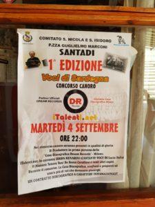 """E' in programma questa sera, dalle ore 22.00, in piazza Guglielmo Marconi, a Santadi, la prima edizione del concorso canoro """"Voci di Sardegna""""."""