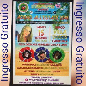Domani, sabato 15 settembre, alle ore 17.30, nel Parco di Villa Sulcis si svolgerà la quarta edizione dell'Addio all'Estate.