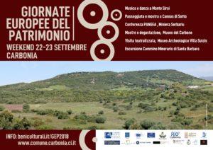 Sabato 22 e domenica 23 settembre il comune di Carbonia aderisce alle Giornate Europee del Patrimonio (GEP) 2018.