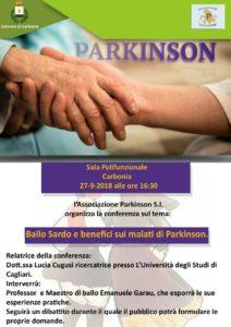 """Giovedì 27 settembre la sala polifunzionale del comune di Carbonia ospiterà la conferenza """"Ballo sardo e benefici sui malati di Parkinson""""."""