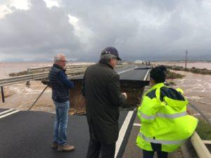 Il presidente della Regione e l'assessore dei Lavori pubblici si sono recati a Capoterra, nei luoghi maggiormente colpiti dal maltempo.
