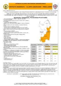 Nuovi allerta meteo di colore arancione fino a tutta la giornata di domani, giovedì 18 ottobre, nell'Iglesiente, Campidano, Flumendosa-Flumineddu e Gallura.