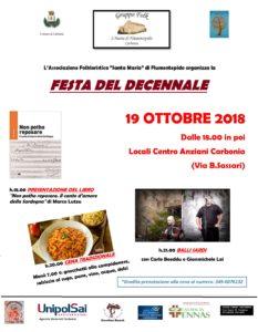 """L'associazione folkloristica """"Santa Maria"""" di Flumentepido venerdì 19 ottobre festeggerà a Carbonia i 10 anni di attività."""