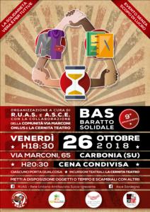 Nuovo appuntamento con il BAS – Baratto Solidale, venerdì 26 ottobre, questa volta ospitato dalla Comunità Via Marconi, in via Marconi 65 a Carbonia.