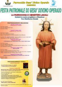 Da giovedì 18 a domenica 21 ottobre, a Carbonia, si celebrerà la festa patronale di Gesù Divino Operaio.