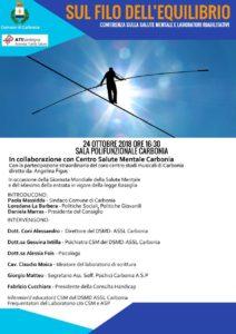 """""""Sul filo dell'equilibrio""""è il titolo della conferenza sulla salute mentale ed i laboratori riabilitativi, che si svolgerà mercoledì 24 ottobre, a Carbonia."""