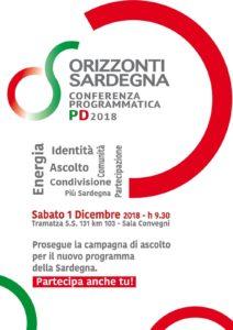 Sabato 1 dicembre, a Tramatza, conferenza programmatica del PD Sardegna.