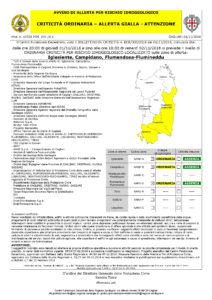 Ancora un avviso di allerta gialla dalle 20.00 di oggi alle 18.00 di domani, 2 novembre, su Iglesiente, Campidano e Flumendosa-Flumineddu.