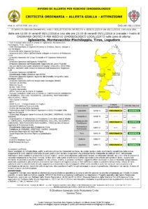 Nuovo peggioramento delle condizioni meteo per domani con allerta gialla per rischio idrogeologico in Iglesiente, Montevecchio-Pischilappiu, Tirso e Logudoro.