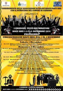 """Dal 1° al 4 dicembre, a Bacu Abis, si svolgerà la seconda edizione della """"Festa del minatore""""."""