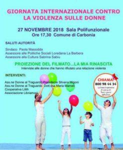 Domani, martedì 27 novembre, nella sala polifunzionale di piazza Roma, a Carbonia, si svolgerà un incontro pubblico sulla Giornata Internazionale contro la violenza sulle donne.