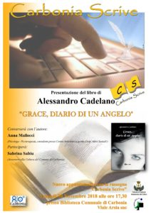 """Venerdì 30 novembre, presso la Biblioteca Comunale di Carbonia, verrà presentato il libro di Alessando Cadelano """"Grace, diario di un Angelo""""."""