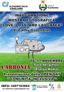 """Venerdì 16 e sabato 17 novembre, nella sala polifunzionale del comune di Carbonia, si terrà la mostra fotografica """"Amore, perdita e risate: una visione differente dell'Alzheimer""""."""