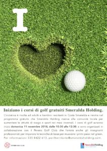 A novembre si rinnova l'appuntamento con i Corsi di Golf di Smeralda Holding destinati alle comunità di Arzachena e Olbia, presso il prestigioso Pevero Golf Club.