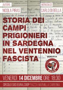 """La Rete Unitaria Antifascista Sulcis Iglesiente venerdì sera, a Carbonia, presenta il libro """"Storia dei campi di lavoro e detenzione in Sardegna nel ventennio fascista""""."""