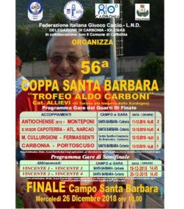 Sono in programma martedì 11, mercoledì 12 e giovedì 13 dicembre, le partite dei quarti di finale della 56ª edizione della Coppa Santa Barbara Trofeo Aldo Carboni.