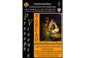 A Narcao domenica 16 dicembre, per il terzo anno, in piazza Giacomo Matteotti (piazza Chiesa), dalle 10.00 alle 22.00 verrà rappresentato il presepe vivente.