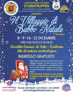 """Verrà inaugurata domani, sabato 8 dicembre, a Carbonia, la terza edizione de""""Il Villaggio di Babbo Natale""""."""